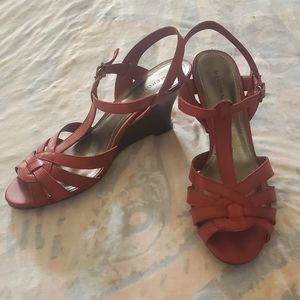 Merona Womans Red Wedge Sandals.